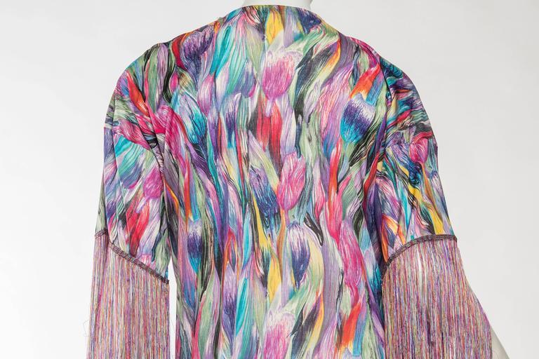 1970s Missoni Fringed Silk Jersey Kimono 8