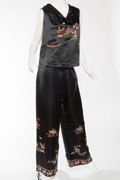 Black Antique Silk Chinese Pjamas For Sale