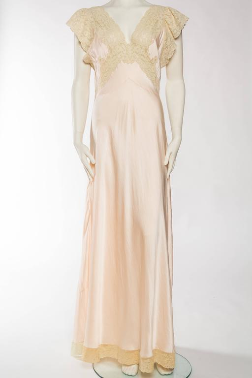 Beige Antique Bias Cut Silk Negligee For Sale
