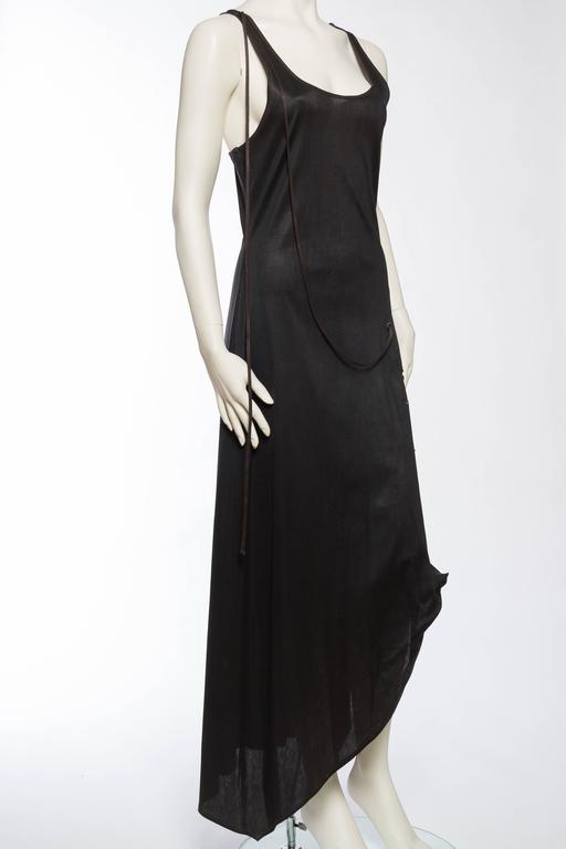 1990s Jean Paul Gaultier Waxed Jersey Dress In Excellent Condition For Sale In New York, NY