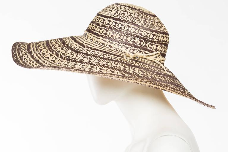 Handwoven Wide Brimmed Straw Picture Hat In Excellent Condition For Sale In New York, NY