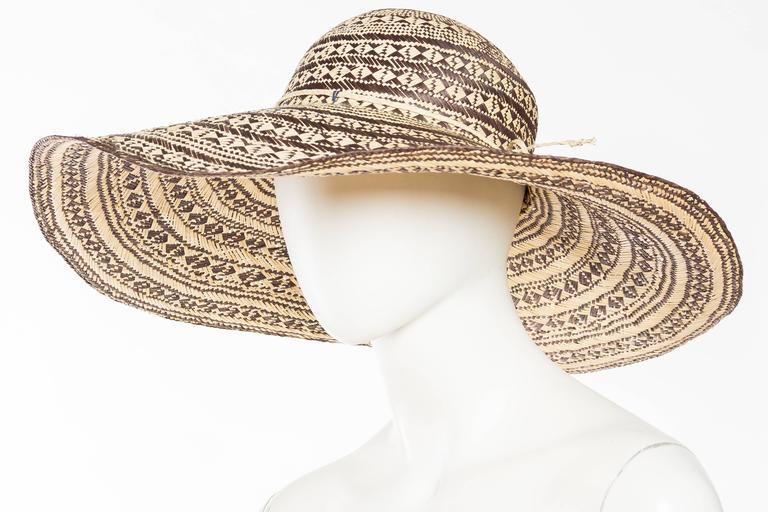 Beige Handwoven Wide Brimmed Straw Picture Hat For Sale