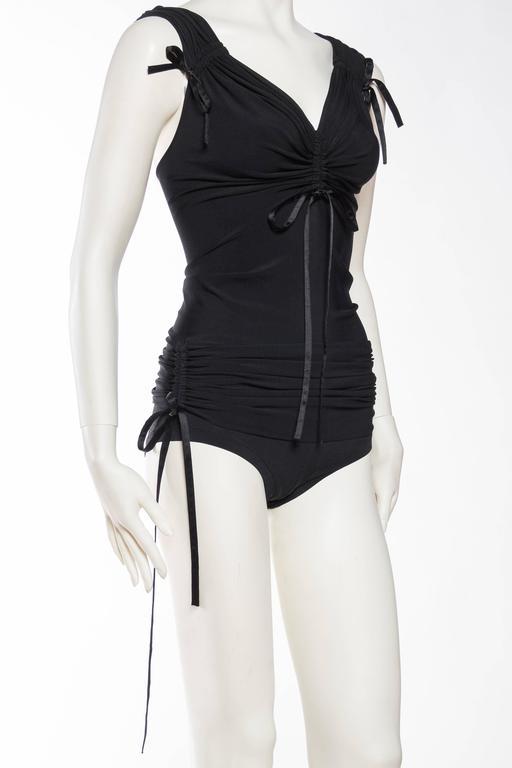 Black 1990s Donna Karan Ruched Jersey Bodysuit For Sale