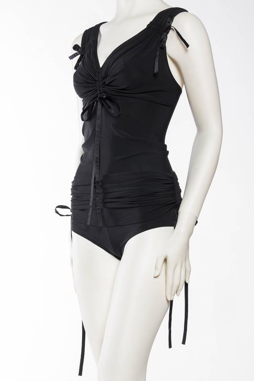 1990s Donna Karan Ruched Jersey Bodysuit In Excellent Condition For Sale In New York, NY
