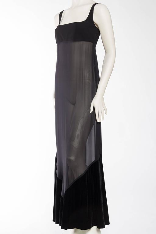 Women's 1990s Gianfranco Ferre Sheer and Velvet Gown For Sale