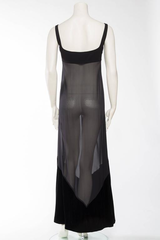 1990s Gianfranco Ferre Sheer and Velvet Gown For Sale 1