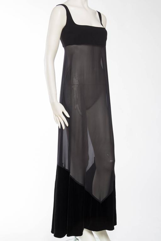 1990s Gianfranco Ferre Sheer and Velvet Gown In Excellent Condition For Sale In New York, NY
