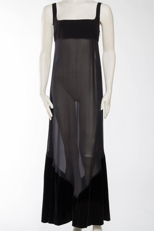 Black 1990s Gianfranco Ferre Sheer and Velvet Gown For Sale