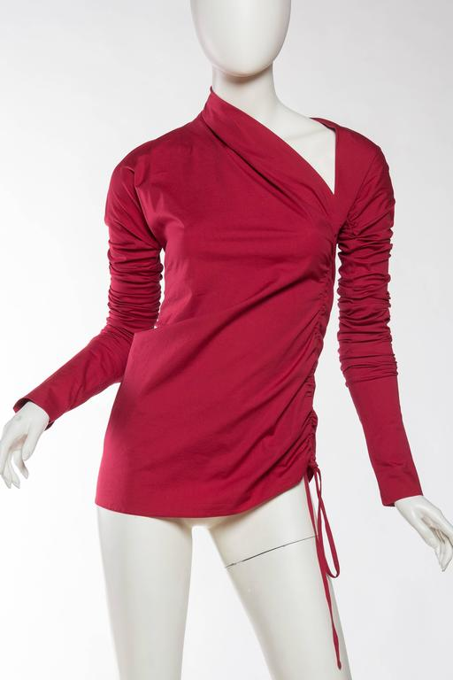 1990s Romeo Gigli Ruched Cotton Blouse 2