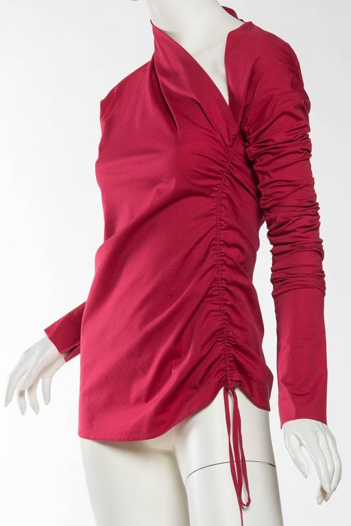 1990s Romeo Gigli Ruched Cotton Blouse 4