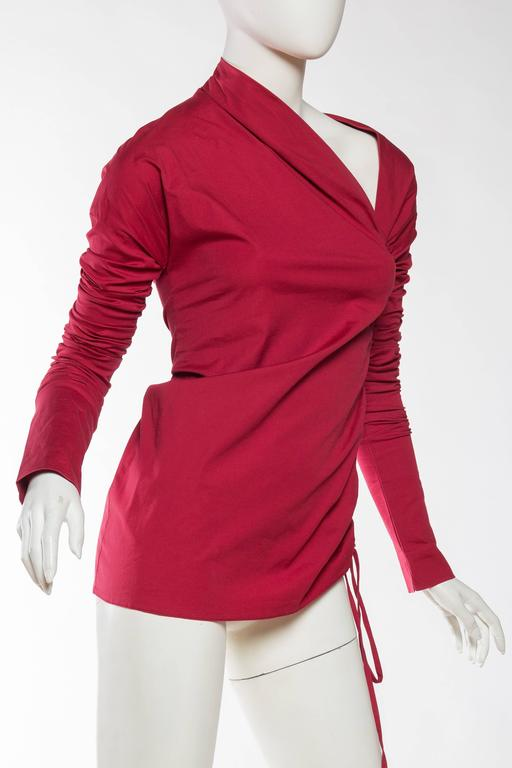1990s Romeo Gigli Ruched Cotton Blouse 3