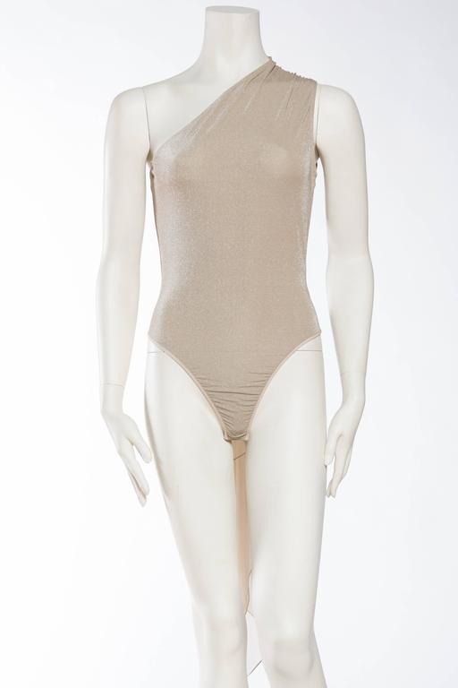 Beige 1990s Donna Karan Sparkle Bodysuit with Scarf For Sale