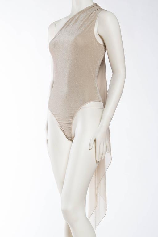Women's 1990s Donna Karan Sparkle Bodysuit with Scarf For Sale