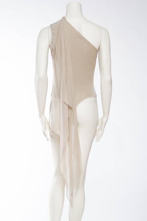 1990s Donna Karan Sparkle Bodysuit with Scarf For Sale 1