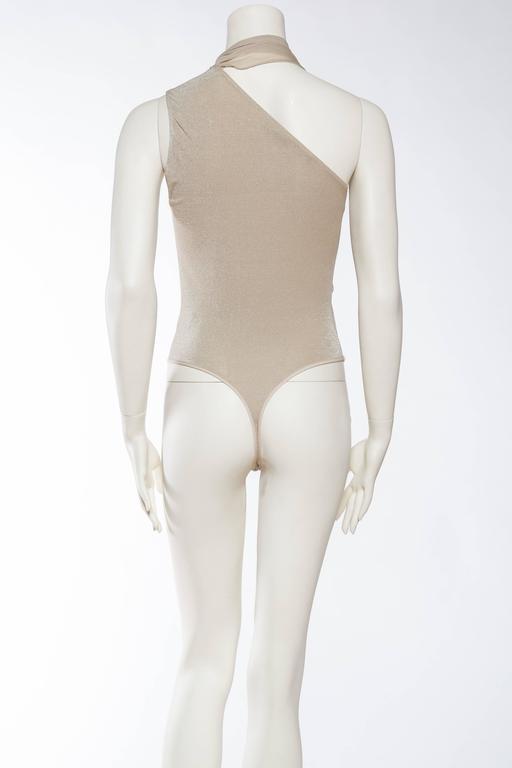 1990s Donna Karan Sparkle Bodysuit with Scarf For Sale 2