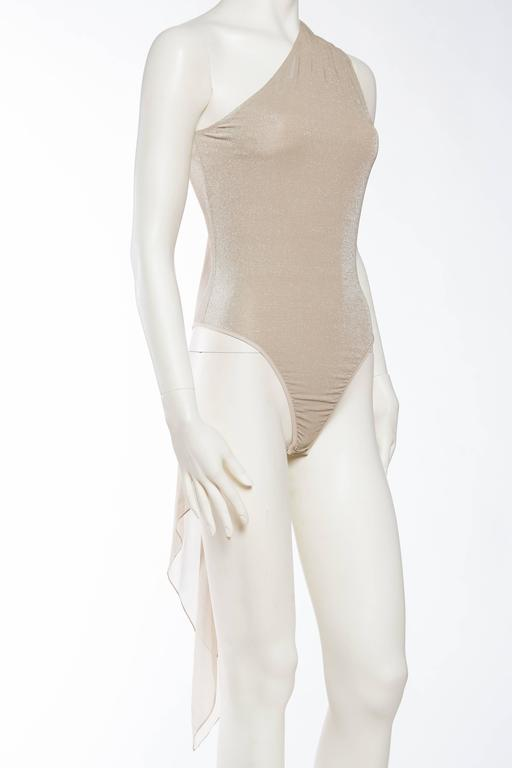 1990s Donna Karan Sparkle Bodysuit with Scarf In Excellent Condition For Sale In New York, NY