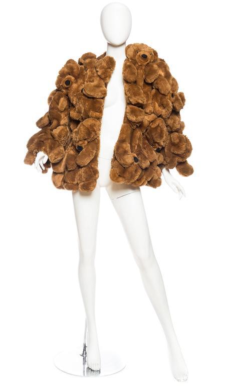 Brown 1980S JEAN CHARLES DE CASTELBAJAC Teddy Bear Coat For Sale