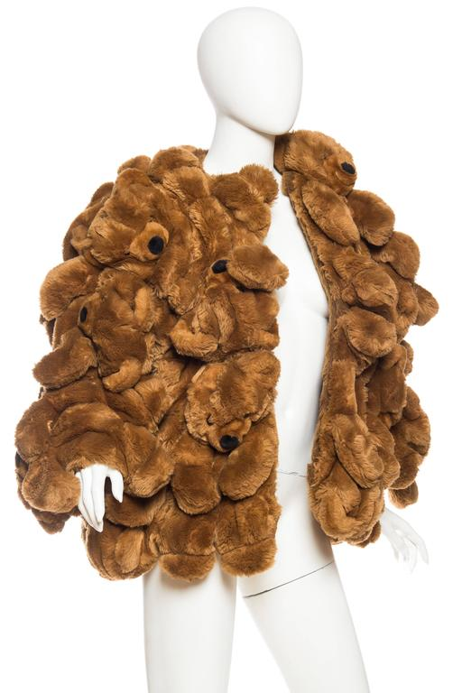 1980S JEAN CHARLES DE CASTELBAJAC Teddy Bear Coat In Excellent Condition For Sale In New York, NY