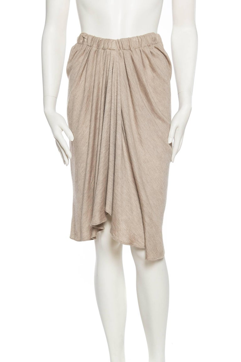 Brown Donna Karan Draped Cashmere Skirt For Sale