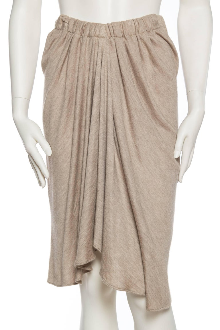 Donna Karan Draped Cashmere Skirt with elastic waist for varying sizes.