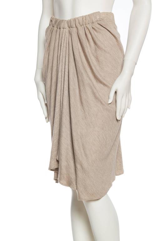Women's Donna Karan Draped Cashmere Skirt For Sale