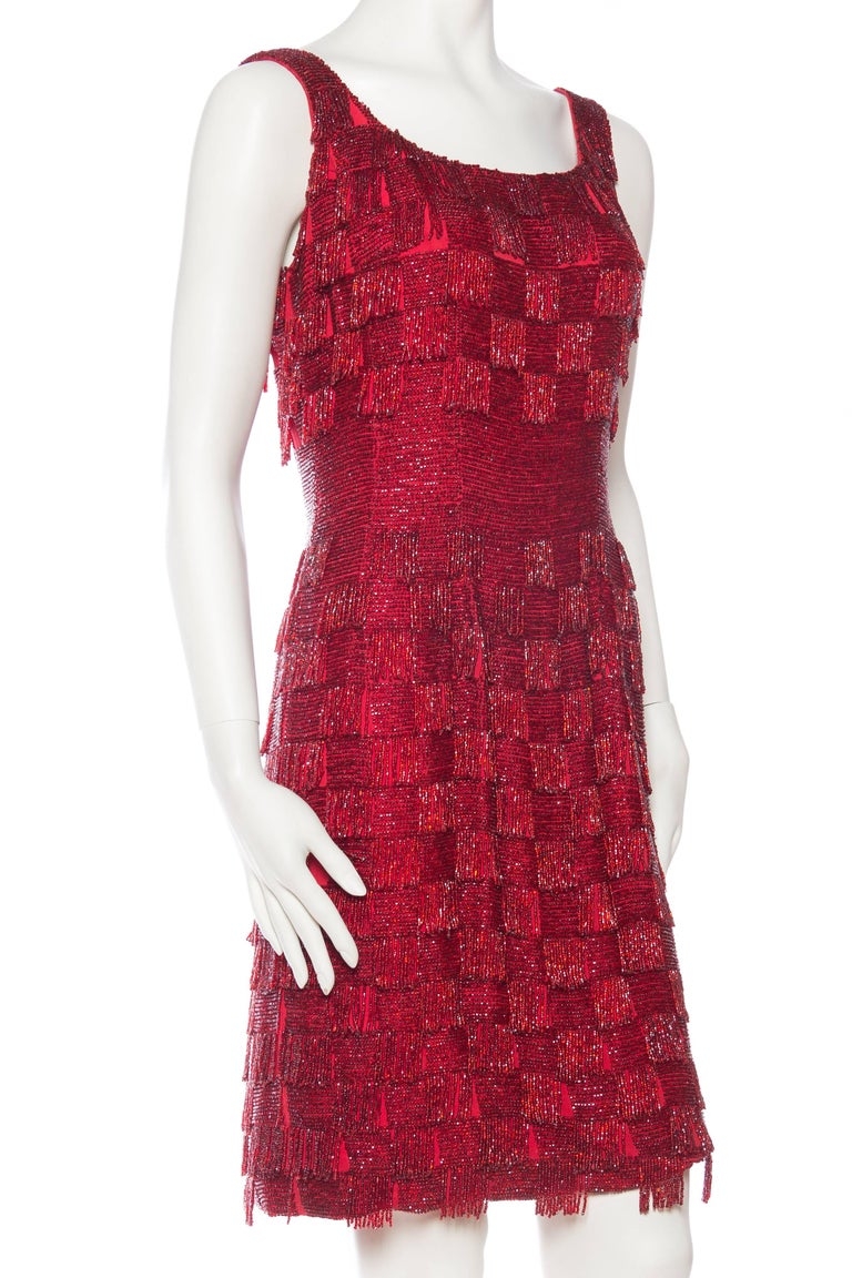 1950s Solid Beaded Fringe Dress For Sale At 1stdibs