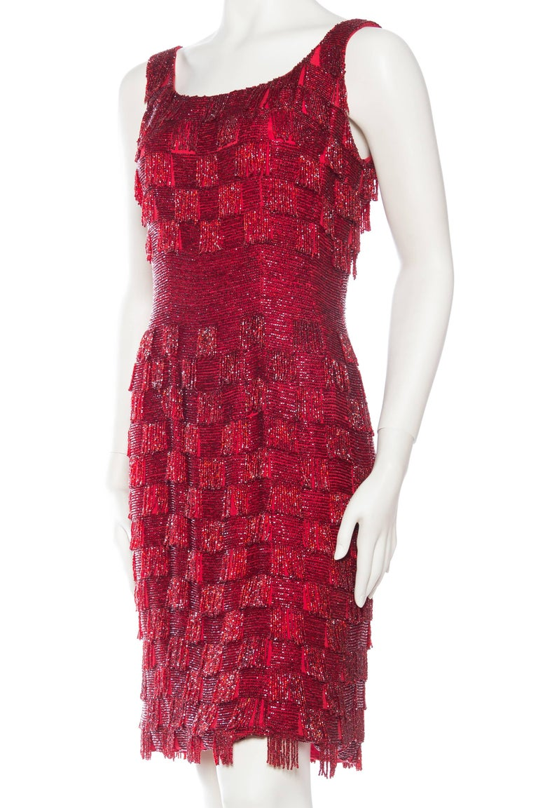 1950s Solid Beaded Fringe Dress For Sale At 1stdibs