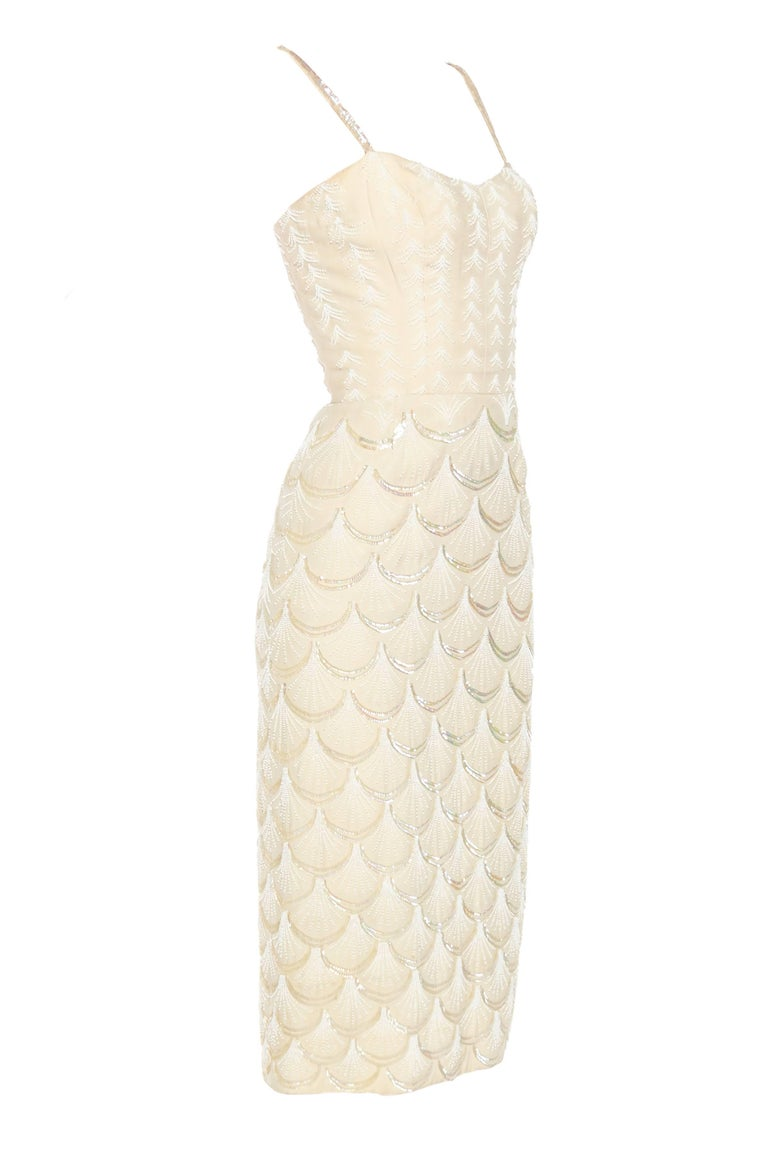 1950s Fontana Couture Beaded White Dress In Good Condition For Sale In New York, NY