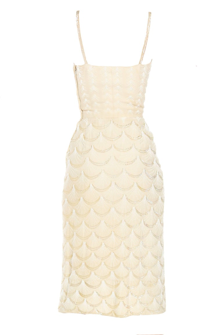Women's 1950s Fontana Couture Beaded White Dress For Sale