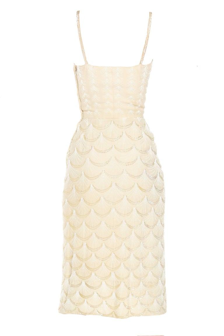 1950s Fontana Couture Beaded White Dress 3
