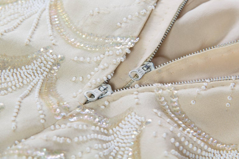 1950s Fontana Couture Beaded White Dress For Sale 2