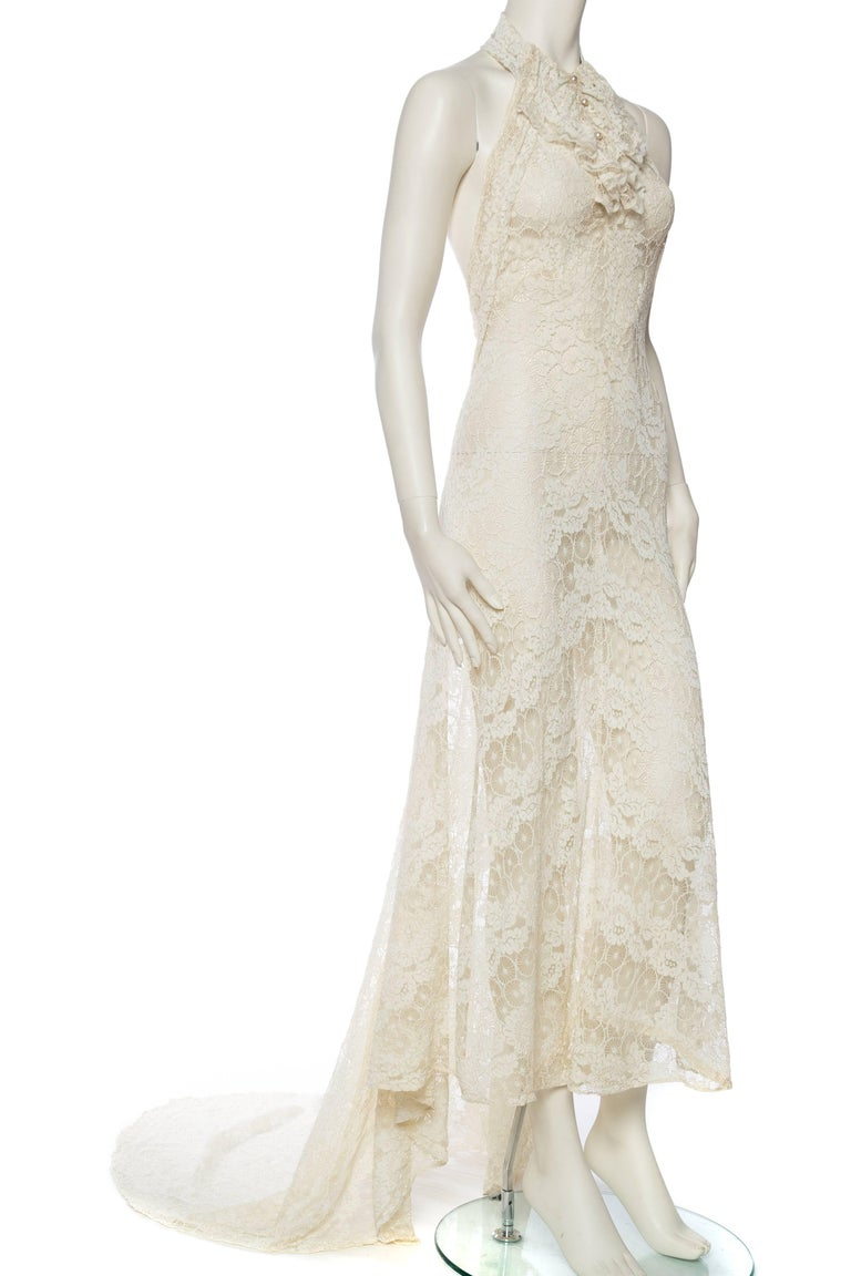 Beige Backless 1930s Spider Lace Dress with Train For Sale
