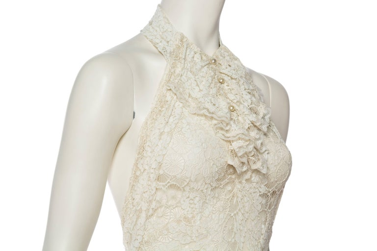 Backless 1930s Spider Lace Dress with Train For Sale 1