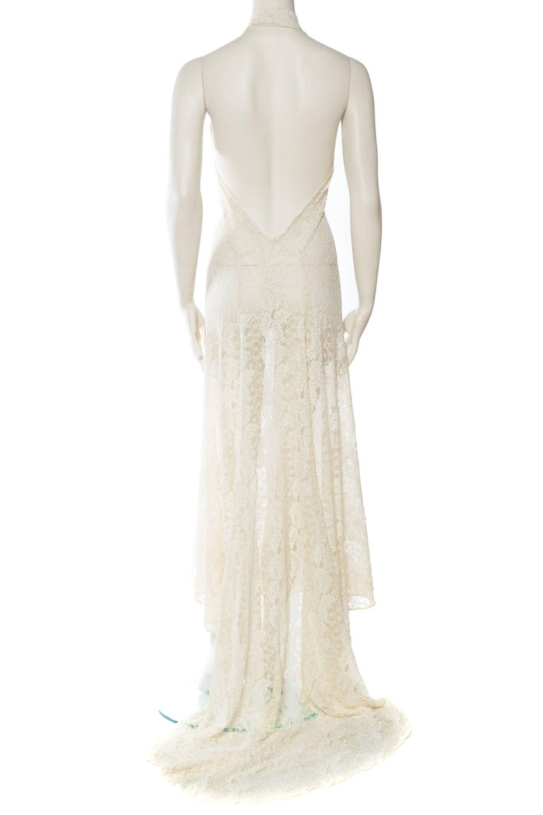 Women's Backless 1930s Spider Lace Dress with Train For Sale