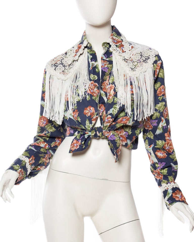 Gray Floral Western Shirt with Fringe and Victorian Lace For Sale