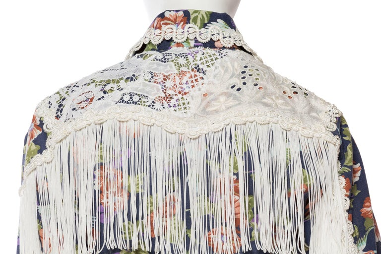 Floral Western Shirt with Fringe and Victorian Lace For Sale 3