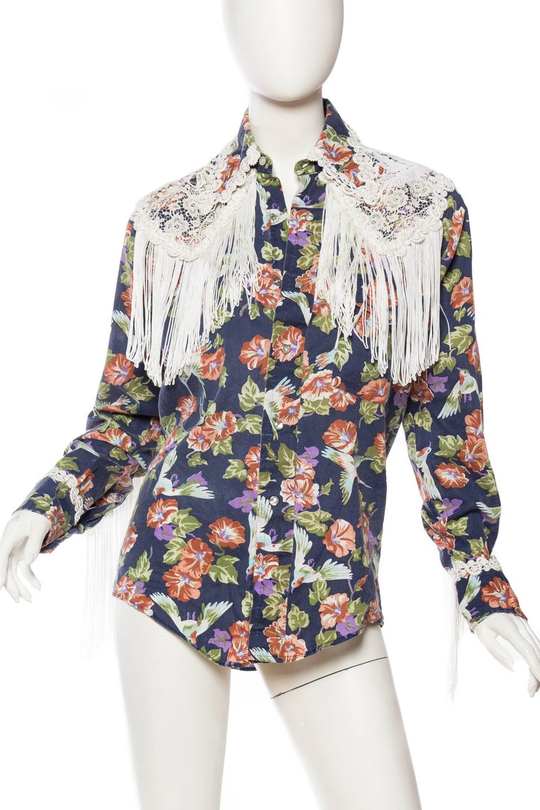 Floral Western Shirt with Fringe and Victorian Lace In Excellent Condition For Sale In New York, NY
