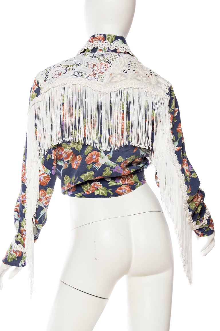 Floral Western Shirt with Fringe and Victorian Lace For Sale 1