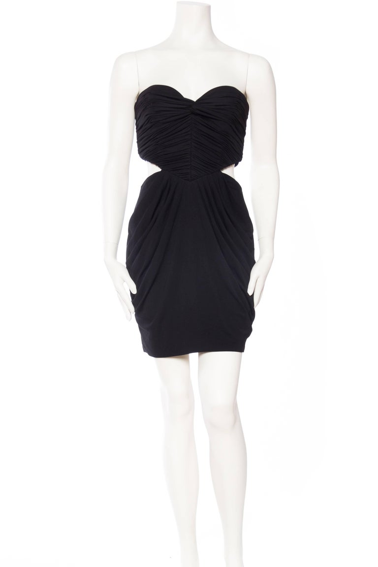 Black Vicky Tiel Sexy Cut Out Jersey Dress For Sale