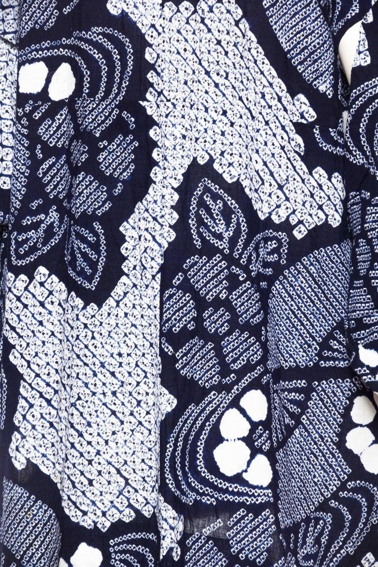 Very Rare Cotton Indigo Shibori Kimono For Sale 5