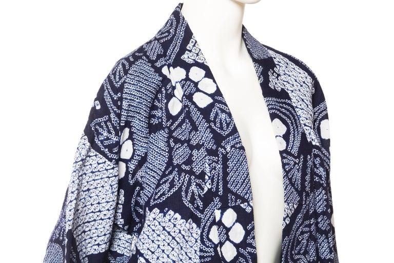 Very Rare Cotton Indigo Shibori Kimono For Sale 3