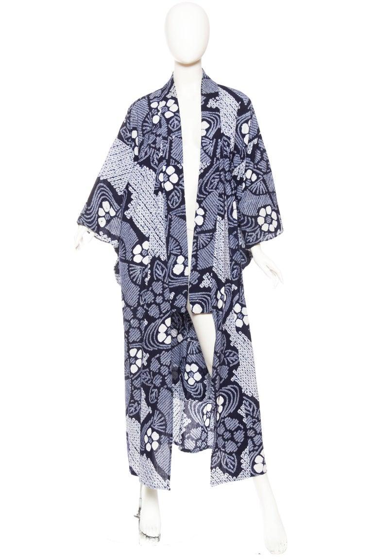 Gray Very Rare Cotton Indigo Shibori Kimono For Sale