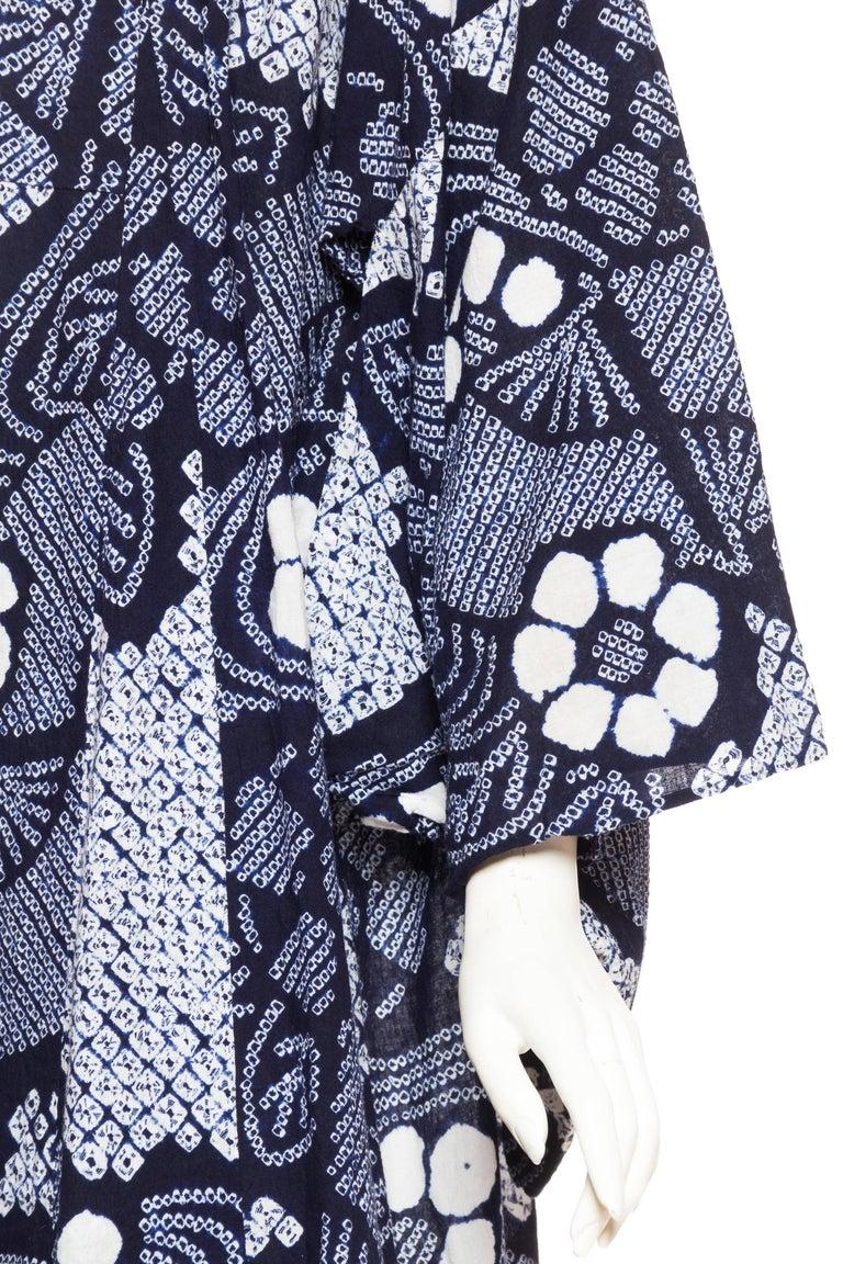 Very Rare Cotton Indigo Shibori Kimono For Sale 4