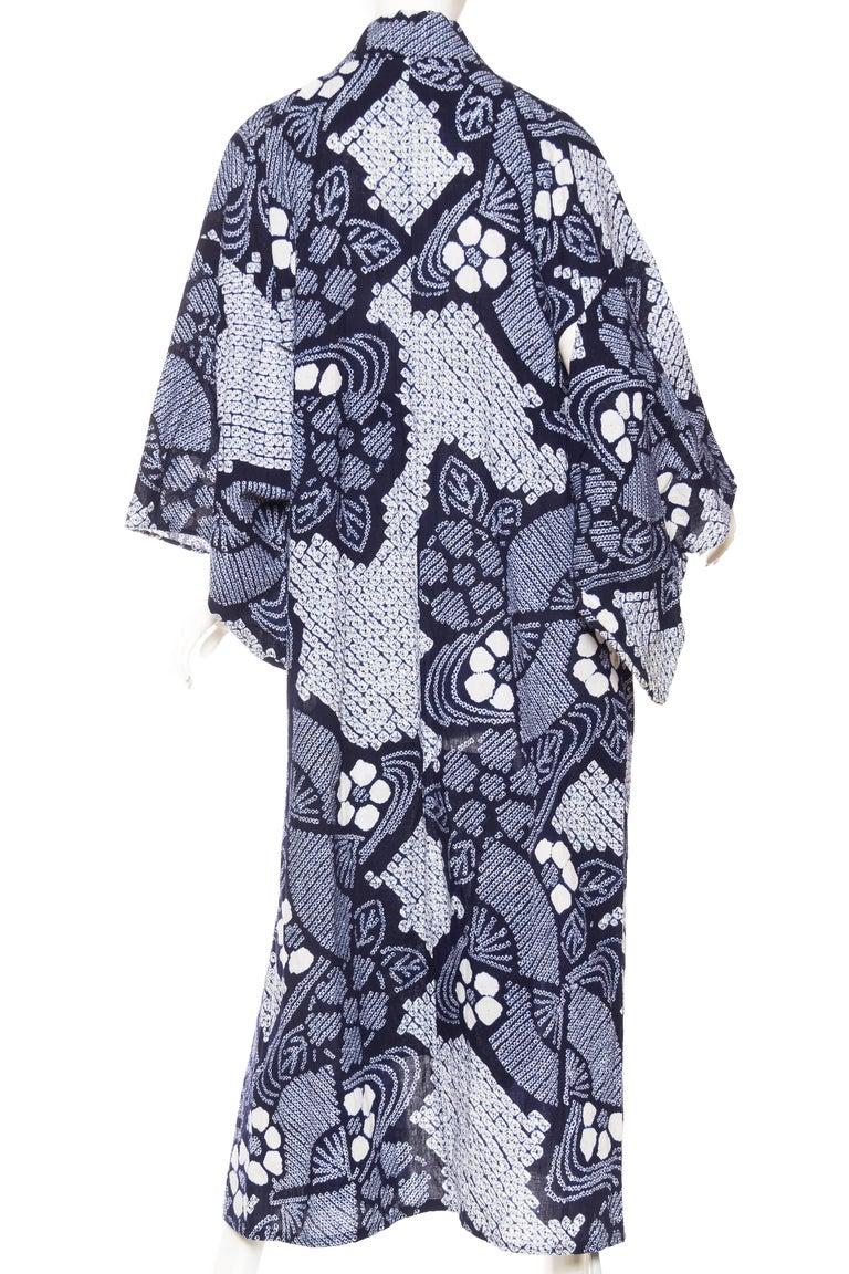 Very Rare Cotton Indigo Shibori Kimono For Sale 1