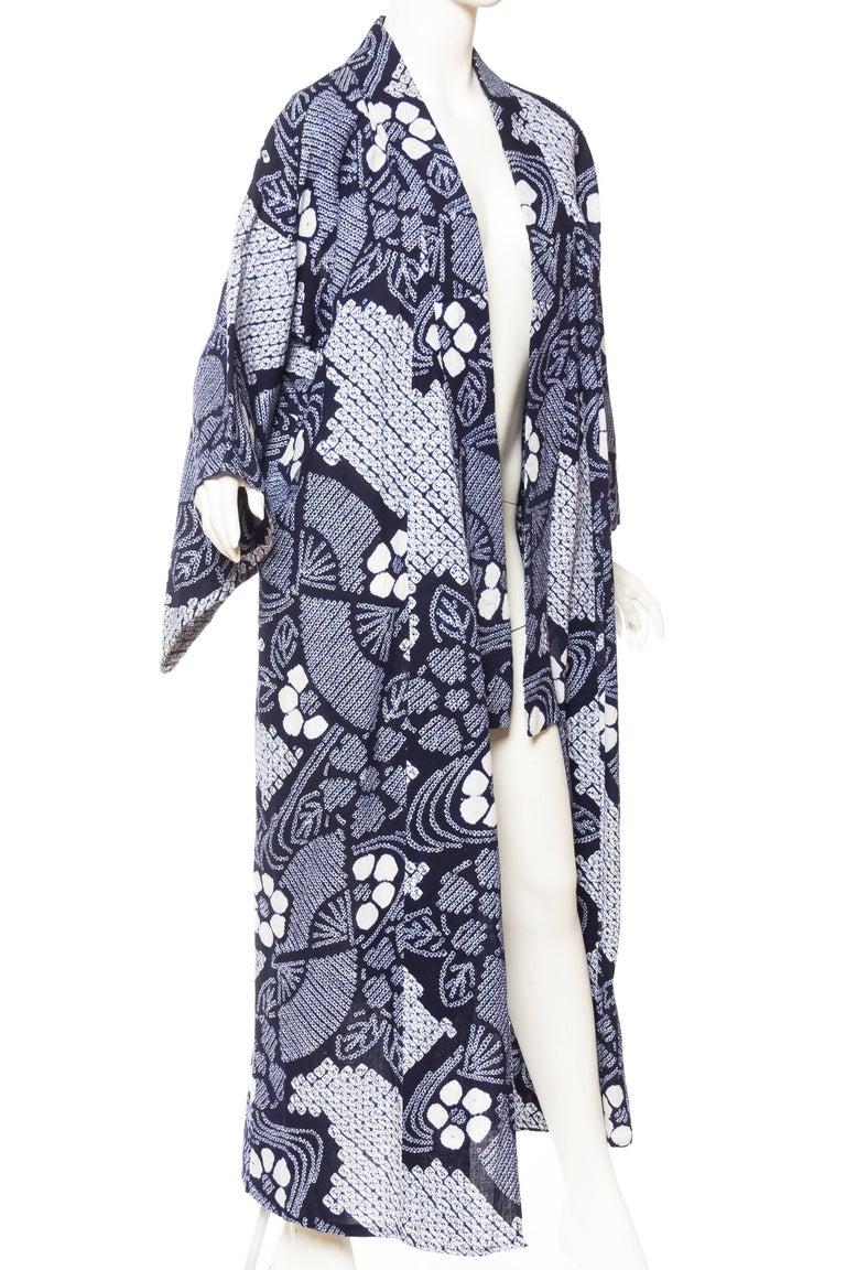 Very Rare Cotton Indigo Shibori Kimono In Excellent Condition For Sale In New York, NY