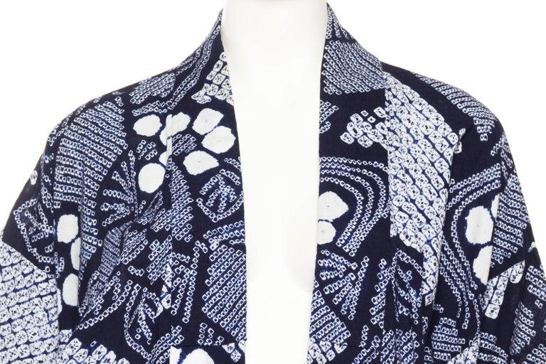 Very Rare Cotton Indigo Shibori Kimono For Sale 2