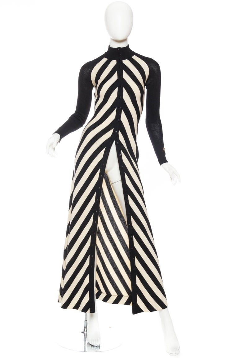 Black & White Op-Art Chevron Striped Maxi Sweater Cardigan with a cute bee stitched to one cuff.