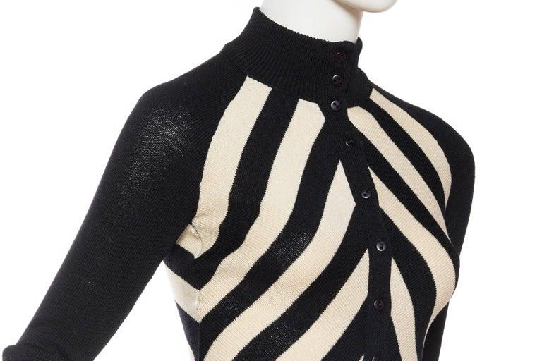 Black & White Op-Art Chevron Striped Maxi Sweater Cardigan For Sale 4