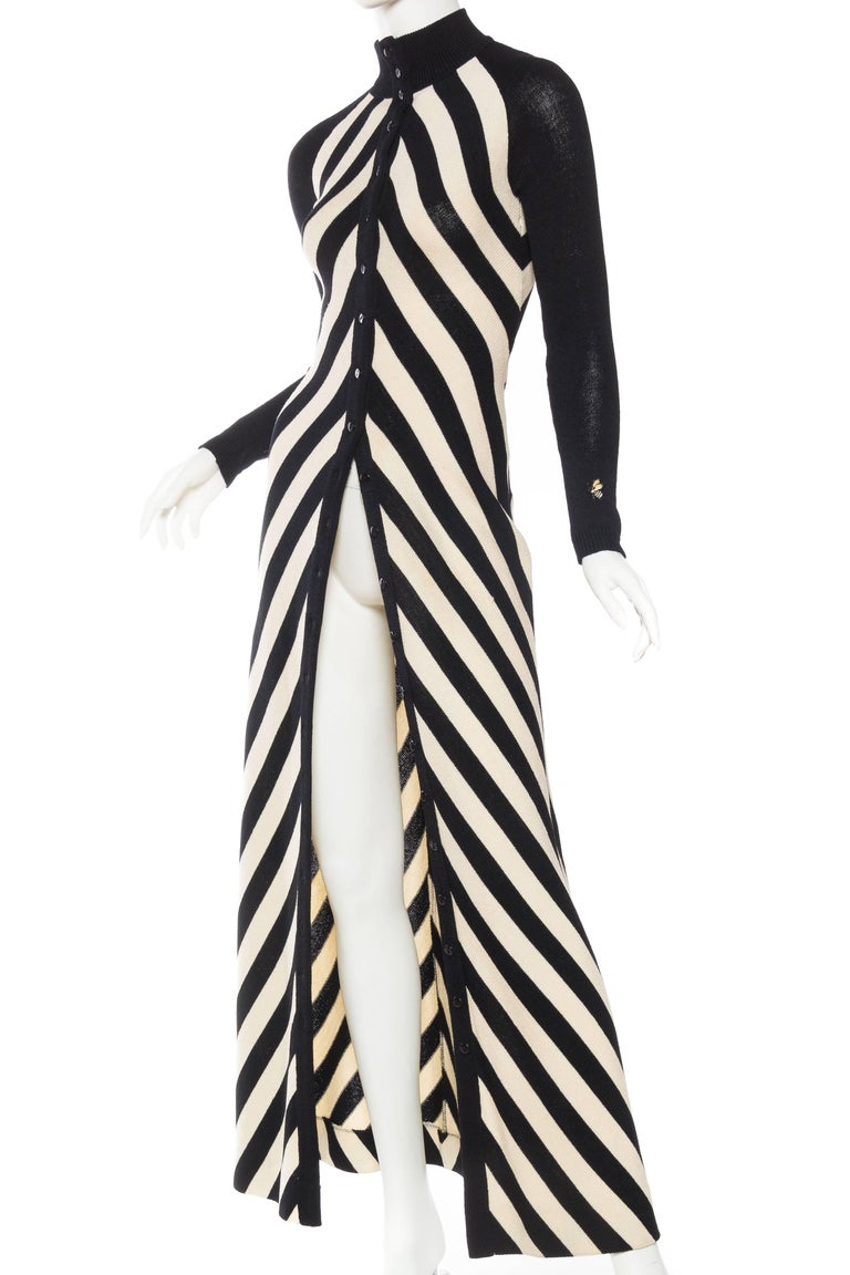 Black and White Op-Art Chevron Striped Maxi Sweater ...