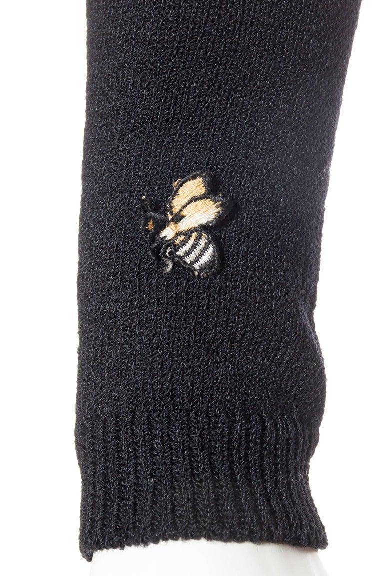 Black & White Op-Art Chevron Striped Maxi Sweater Cardigan For Sale 5